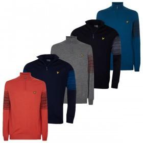 Lyle & Scott Mens Stripe 1/4 Zip Merino Wool Acrylic Sweater