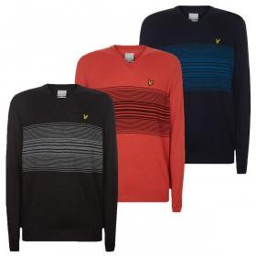 Lyle & Scott Mens Stripe V Neck Merino Blend Durable Sweater