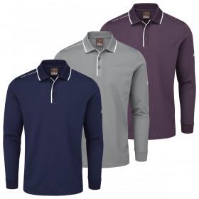 Oscar Jacobson Mens 2021 Sheldon Long Sleeve Wicking Breathable Golf Polo Shirt