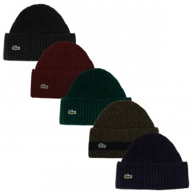 Lacoste Mens RB2729 Ribbed Wool Turned Edge Beanie Winter Wooly Hat a1a9e500ad5e