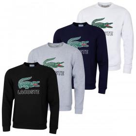 Lacoste Mens Croc Print Fleece Crew Neck Long Sleeve Sweater