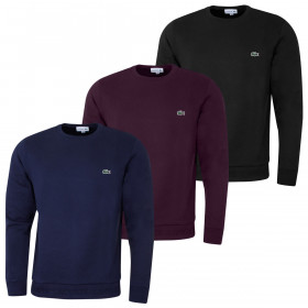 Lacoste Mens Brushed Fleece Cotton Blend Crew Neck Sweater