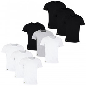 Lacoste Mens 2021 TH3451 Crew Neck Cotton Ribbed Crocodile 3 Pack T-Shirt