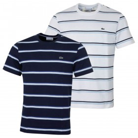 Lacoste Mens 2019 Striped Linen Blend T-Shirt