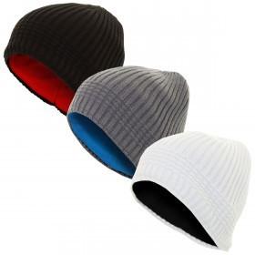 cf8d1915f52 Calvin Klein Mens CK Reversible Knit Beanie Hat - Black Silver ...