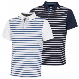 Wolsey Mens Stripe Front Stretch Technical Golf Polo Shirt