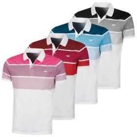 Wolsey Mens Three Colour Stripe Breathable Golf Polo Shirt