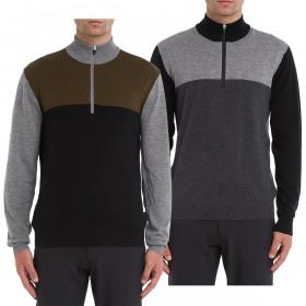 Wolsey Mens Colour Block 1/4 Zip Breathable Merino Wool Golf Sweater