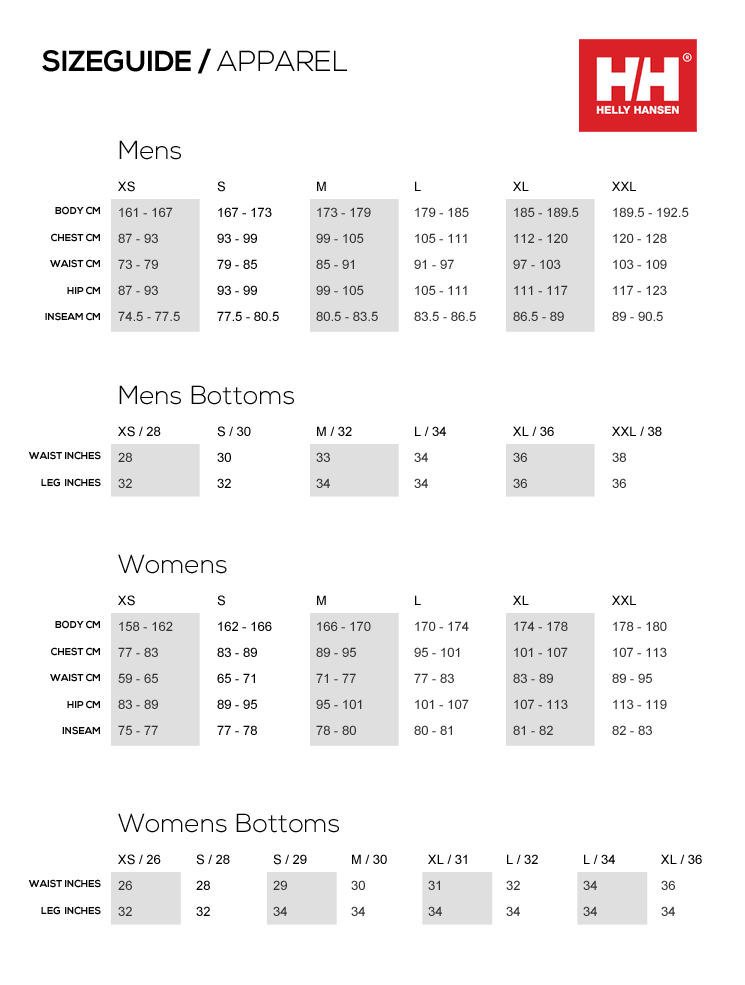 Helly Hansen Men Size Chart